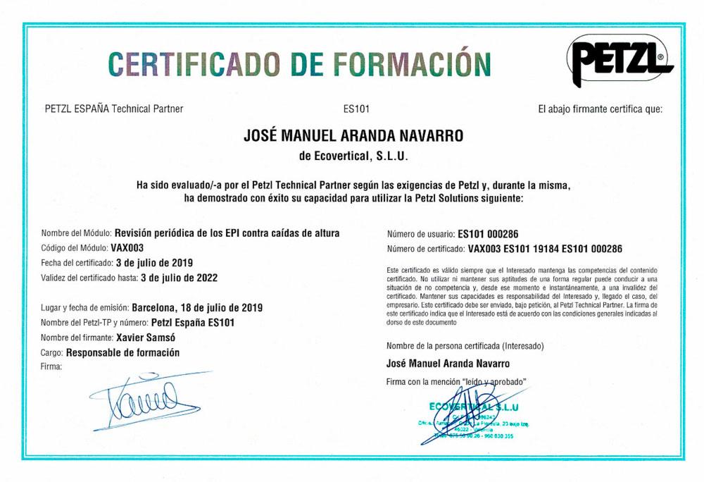certificado formacion petzl